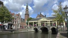 The covered Corn bridge with the town hall, Leiden, South Holland, Netherlands. Stock Footage