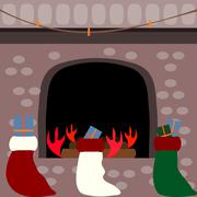 Stockings full of gifts in front of a fireplace Stock Illustration