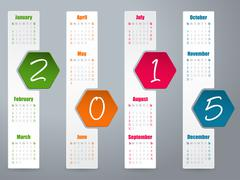2015 hexagon calendar design for year 2015 Stock Illustration