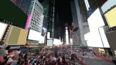 famous times square night light life 4k time lapse from new york city - stock footage
