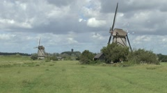 Windmills on the Kinderdijk (Child's Dyke) near Dordrecht, Netherlands. Stock Footage