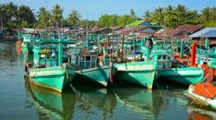 Sihanoukville, cambodia - circa dec 2013: many handmade, wooden, fishing boat Stock Footage