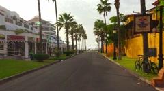 POV. Walking on streets of Playa de las Americas, Tenerife. Steadycam. Stock Footage
