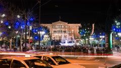 4K night Christmas holiday at constitution square in downtown Athens Greece Stock Footage