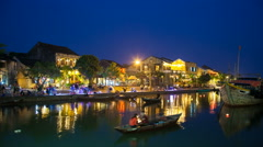 1080 Night Timelapse of old Hoi An city in Vietnam Stock Footage
