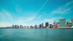 Beautiful sky manhattan panorama 4k time lapse from new york Stock Footage