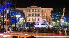 Night Christmas holiday at constitution square in downtown Athens Greece Stock Footage