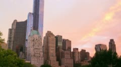 Summer sunset in central park 4k time lapse from new york Stock Footage