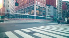 Dusk manhattan traffic crossroad 4k time lapse from new york Stock Footage