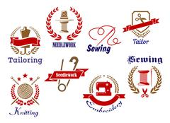 Stock Illustration of needlework, knitting and tailoring emblems and icons