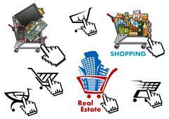 Internet market, store, shop design elements set Stock Illustration