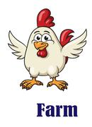 Cute little rooster in cartoon style Stock Illustration
