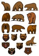 Stock Illustration of grizzly and brown bear characters