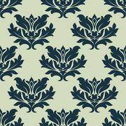 foliage scroll seamless tracery pattern - stock illustration