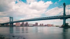 Day time manhattan bridge 4k time lapse from new york Stock Footage