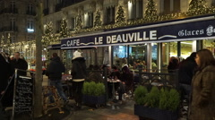 Famous Cafe and restaurant Le Deauville at Champs Elysees Paris Stock Footage