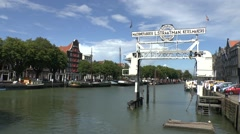 General view of a large marina in Dordrecht, South Holland, Netherlands. Stock Footage