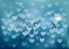 Blue festive lights in heart shape, vector background. - stock illustration