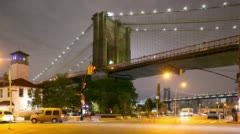 Night traffic crossroad brooklyn bridge park 4k time lapse from nyc Stock Footage