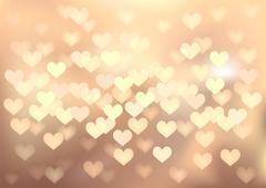 Pastel festive lights in heart shape, vector background. - stock illustration