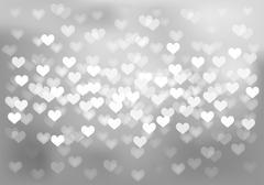 Silver festive lights in heart shape, vector background. Stock Illustration