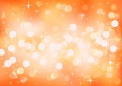 Orange sunny festive lights, vector background. Stock Illustration