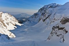 Winter mountain valley Stock Photos