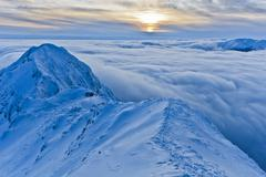 mountain top in winter - stock photo
