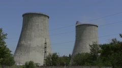 Nuclear power plant on the coast. Ecology disaster concept Stock Footage