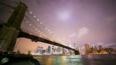 Colored night brooklyn view on manhattan 4k time lapse nyc Stock Footage