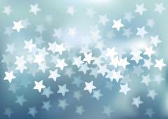 Blue festive lights in star shape, vector background. - stock illustration