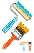 Maintenance tools brushes and rollers for paint works - stock illustration