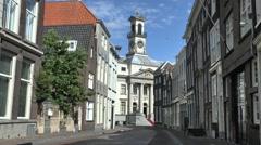 View along Grotekertsbuurt towards City Hall, Dordrecht, Netherlands. Stock Footage