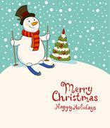 The snowman on skis, cozy retro Christmas card - stock illustration