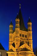 Stock Photo of saint martin church in cologne with illumination at night