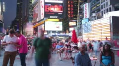 Famous times square night light life 4k time lapse from new york city Stock Footage