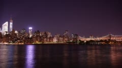 Night buildings light uptown manhattan 4k time lapse from new york Stock Footage