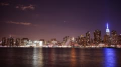 Night manhattan panorama of famous buildings 4k time lapse from new york Stock Footage