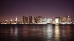 Gantry plaza state park night view on manhattan 4k time lapse from new york city Stock Footage