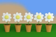flower and pot - stock illustration