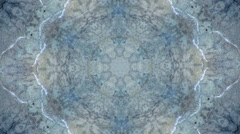 Grunge style kaleidoscopic circle pattern with water stream effect. Stock Footage