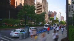 Uptown broadway day light traffic 4k time lpase from new york Stock Footage