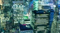 night light manhattan offices 4k time lapse from new york city usa - stock footage