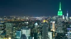 Bird view of night light manhattan 4k time lapse from new york Stock Footage