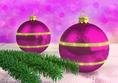Purple Christmas balloons decorated with spruce twigs Stock Illustration