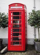 british red telephone kiosk - stock photo