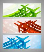 set of banners with airplanes - stock illustration