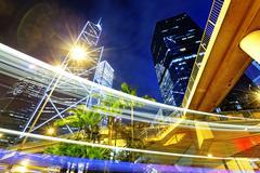 night traffic in the hong kong city - stock photo