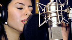 Portrait close up of the singer.Recording in the studio singers. - stock footage