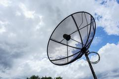 satellite dish and tv antennas communication technology network - stock photo